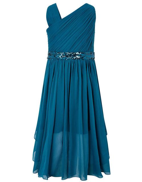Abigail Sequin One-Shoulder Prom Dress, Teal (TEAL), large