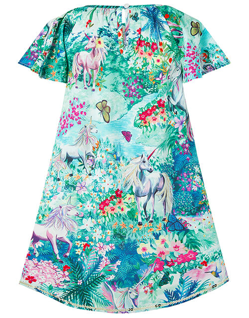 Juniper Colourful Unicorn Dress in Recycled Polyester, Green (GREEN), large
