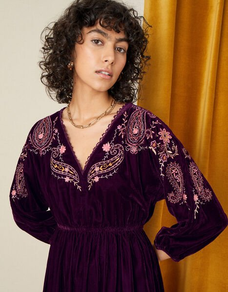 Peya Paisley Embroidered Dress Red, Red (BERRY), large