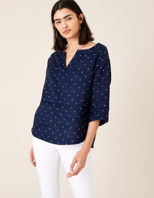 Spot Print Top in Pure Linen, Blue (NAVY), large