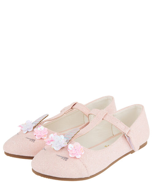 Lola Glitter Unicorn Ballerina Flat Shoes, Pink (PALE PINK), large