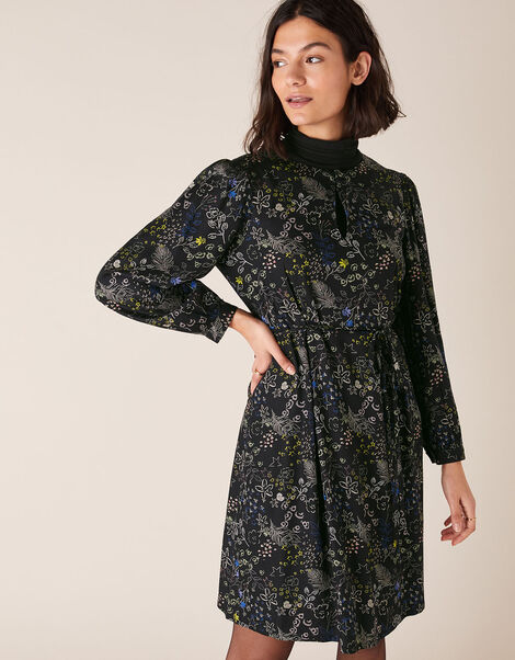 Printed Long-Sleeve Short Dress Black, Black (BLACK), large