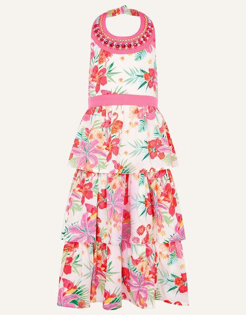 Tropical Flamingo Print Halter Maxi Dress, Ivory (IVORY), large