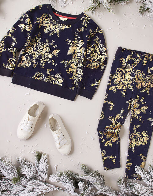 Foil Flower Sweatshirt and Joggers Set, , large