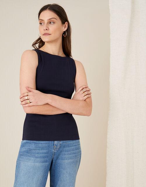 Slash Neck Jersey Vest Top, Blue (NAVY), large
