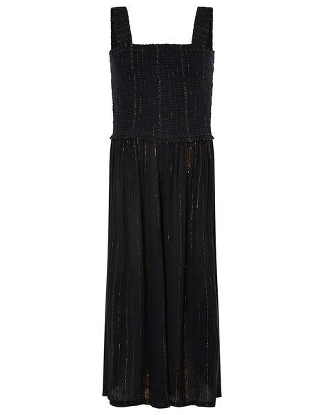 Shirred Sparkle Jumpsuit Black, Black (BLACK), large