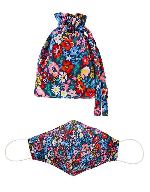 Floral Quilted Face Mask with Storage Bag, , large