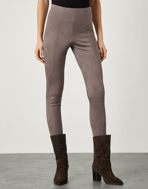 Cecily Suedette Leggings, Brown (TAUPE), large