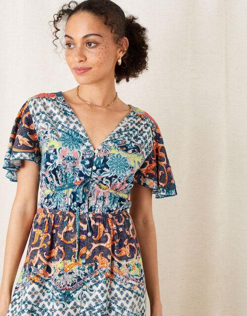 Sufja Printed Jersey Tea Dress , Blue (NAVY), large