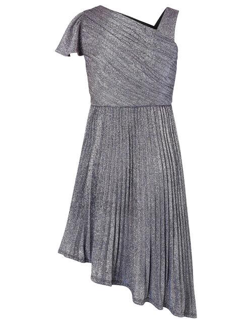 Mercury Shimmer One-Shoulder Prom Dress, Blue (NAVY), large