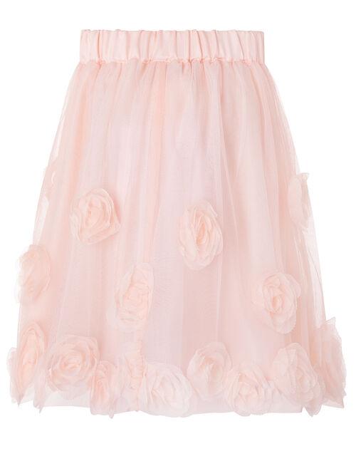3D Roses Tulle Skirt, Pink (DUSKY PINK), large
