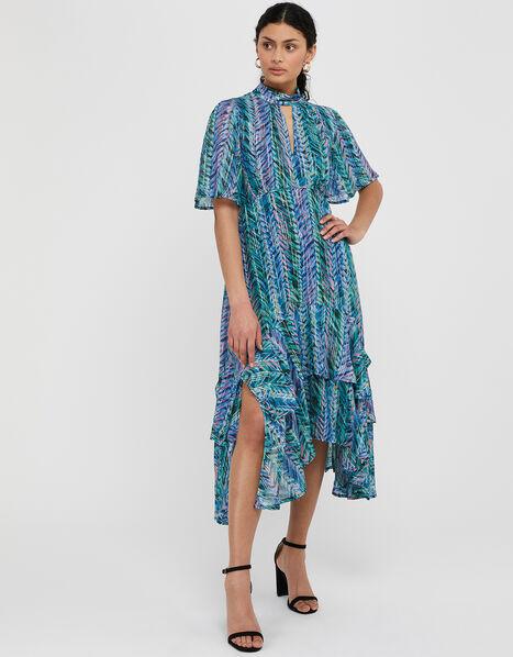 Aaliyah Printed Hanky Hem Dress Blue, Blue (BLUE), large