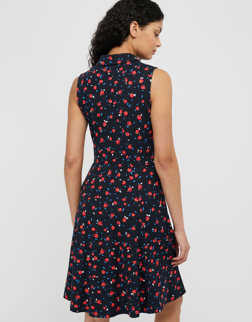 Betsy Rose Print Jersey Shirt Dress, Blue (NAVY), large