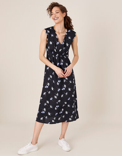 Floral Midi Dress in Pure Linen Blue, Blue (NAVY), large