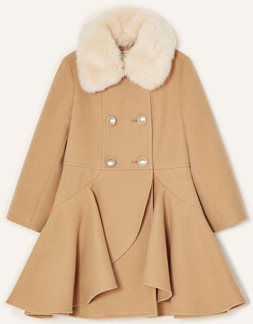 Twirl Skirted Coat , Camel (CAMEL), large