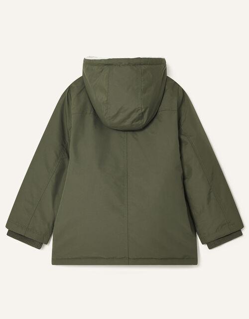 Asymmetric Zip Hooded Parka, Green (KHAKI), large