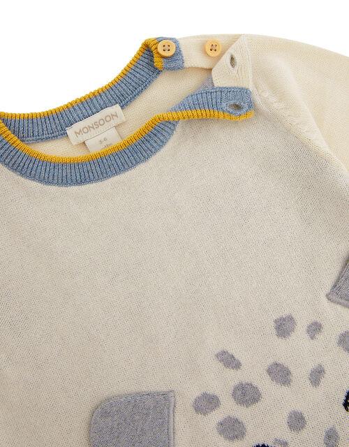 Newborn Baby Leopard Sleepsuit in Organic Cotton, Ivory (IVORY), large