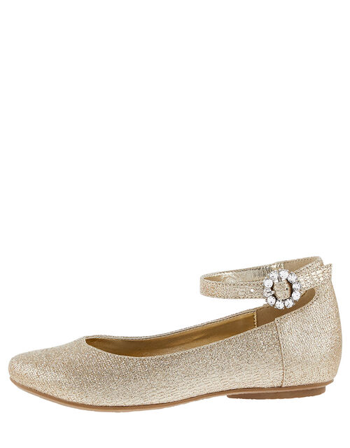 Ankle Strap Ballerina Flats , Gold (GOLD), large