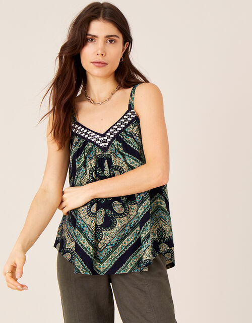 Holly Printed Cami with Organic Cotton, Blue (BLUE), large