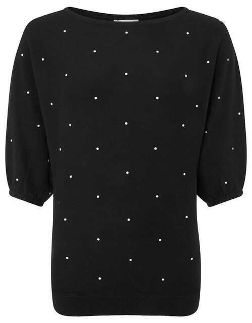 Pearl Knit Jumper with Sustainable Viscose, Black (BLACK), large