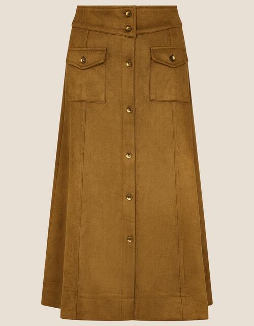Button-Through Suedette Skirt, Camel (CAMEL), large