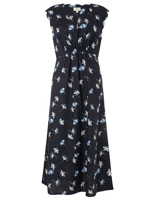 Floral Midi Dress in Pure Linen, Blue (NAVY), large