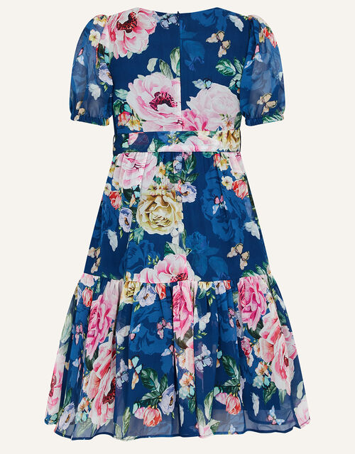 Roseanna Floral Chiffon Dress, Blue (NAVY), large
