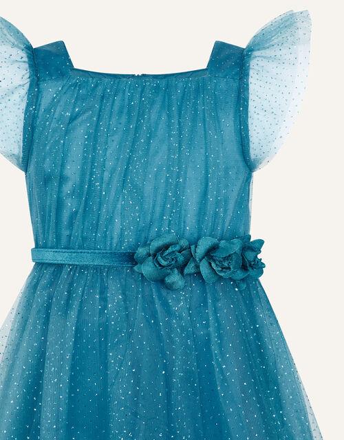 Corsage Belt Glitter Dress, Teal (TEAL), large