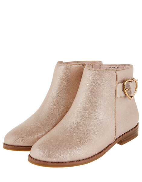 Penny Heart Buckle Shimmer Ankle Boots Pink, Pink (PINK), large