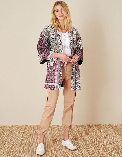 Quinn Printed Longline Jacket Ivory, Ivory (IVORY), large