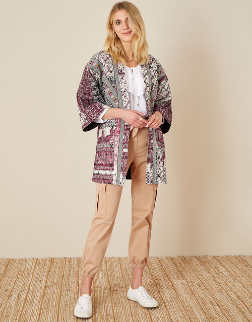Quinn Printed Longline Jacket, Ivory (IVORY), large