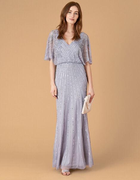 Holly Floral Embellished Maxi Dress Blue, Blue (BLUE), large