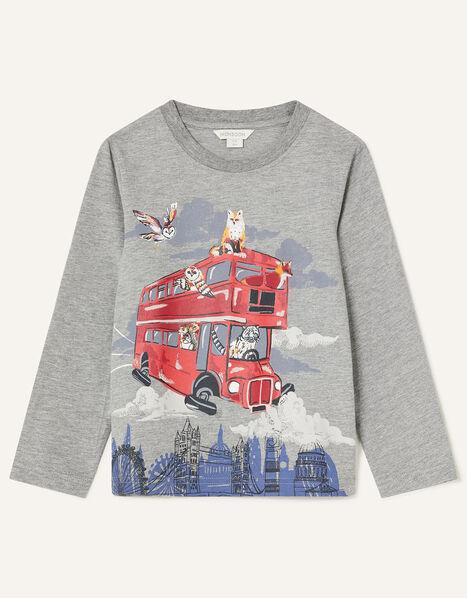 Flying Bus Long Sleeve T-Shirt Grey, Grey (GREY), large