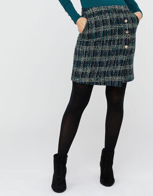 Talia Check Mini Skirt, Teal, large