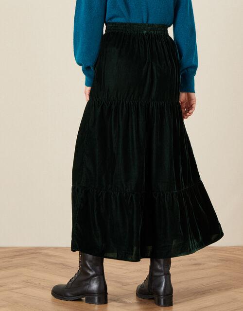 Taylor Tiered Velvet Skirt, Green (GREEN), large