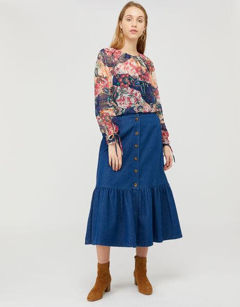 Arjana Printed Blouse with LENZING™ ECOVERO™ Blue, Blue (NAVY), large