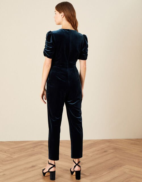 Piper Velvet Lace Trim Jumpsuit , Teal (TEAL), large