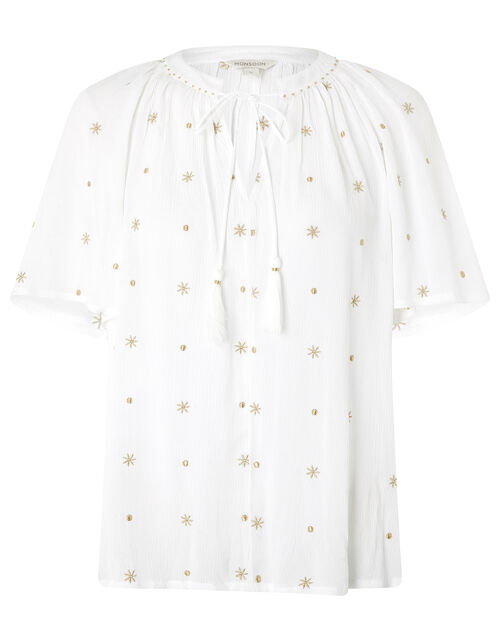 Star Embroidery Top in LENZING™ ECOVERO™, Ivory (IVORY), large