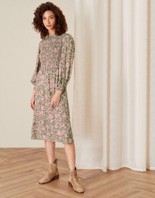 Linie Floral Shirred Dress, Green (KHAKI), large