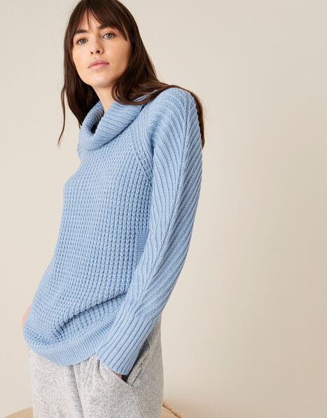 Caitlyn Cowl Neck Stitchy Jumper Blue, Blue (BLUE), large