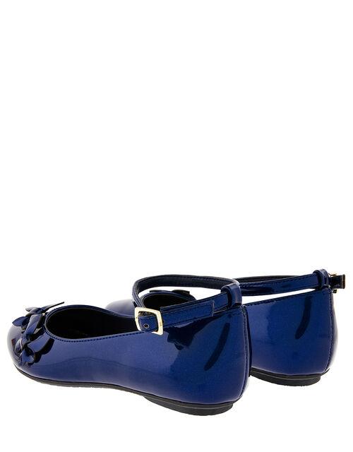 Butterfly Patent Ballerina Flats, Blue (NAVY), large