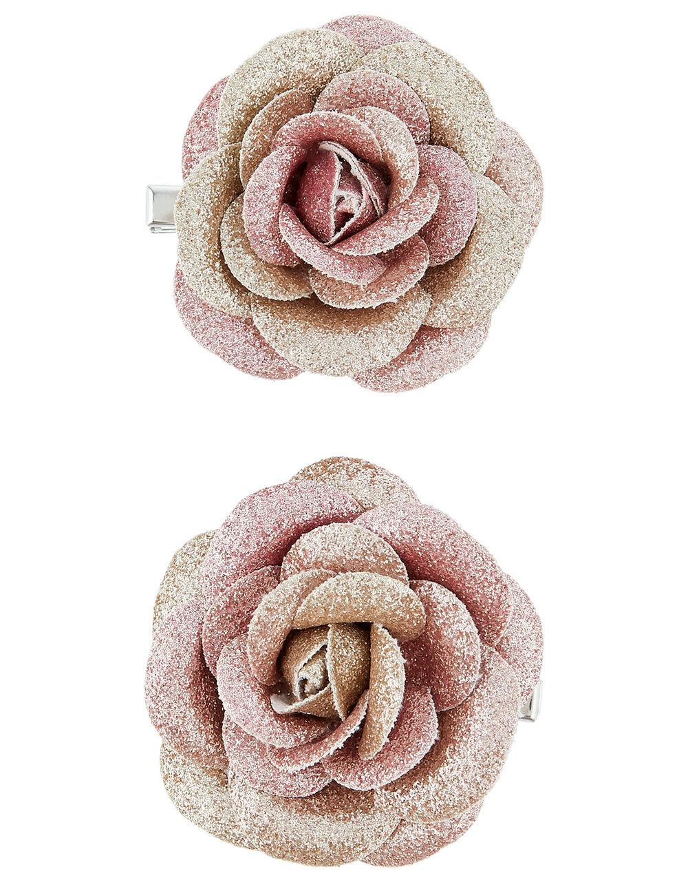 Glitter Ombre Rose Hair Clips, Multi (MULTI), large