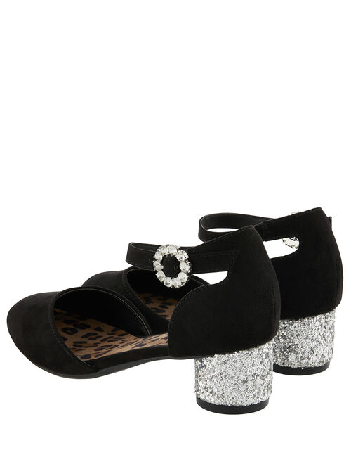Ada Two Part Glitter Heel Shoes, Black (BLACK), large