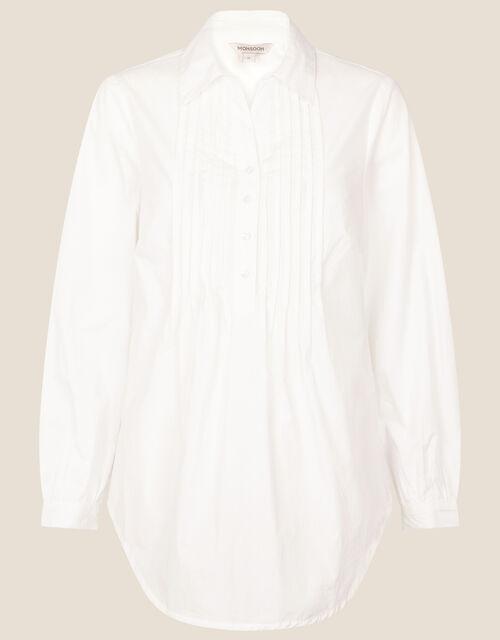 Evalina Pintuck Poplin Shirt, White (WHITE), large