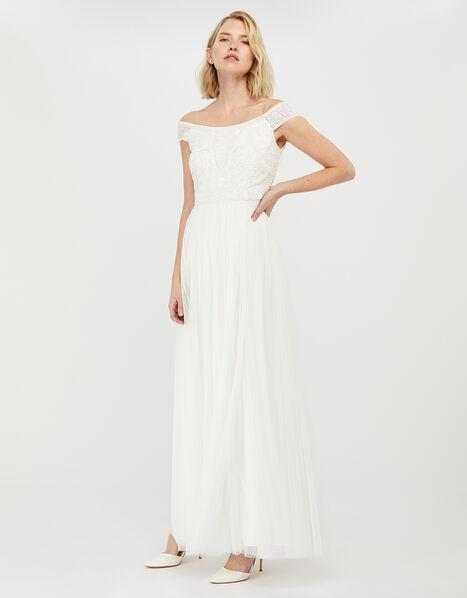 Emmeline Embellished Bardot Bridal Dress Ivory, Ivory (IVORY), large