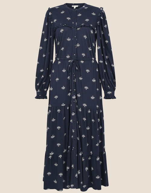 Printed Drawstring Jersey Dress, Blue (NAVY), large