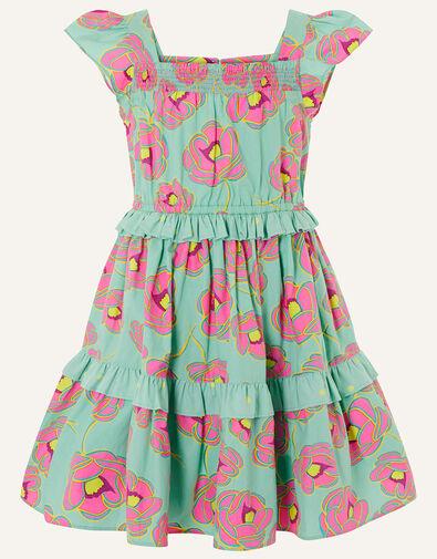 Bold Floral Ruffle Dress Green, Green (GREEN), large