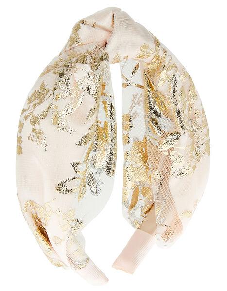 Genevieve Foil Print Knot Headband , , large