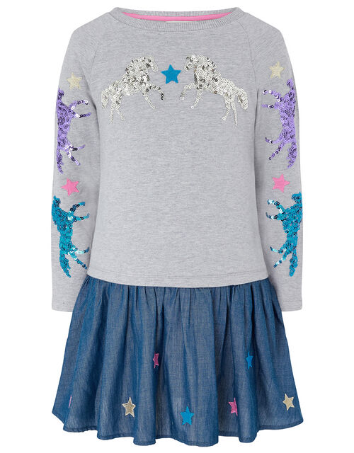 Sequin Horse 2-in-1 Dress, Grey (GREY), large