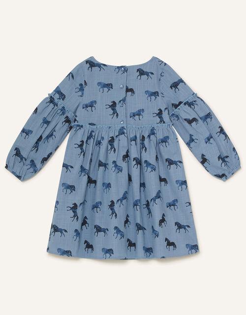 Horse Print Swing Dress, Blue (BLUE), large